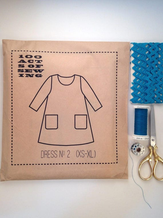 100 Acts of Sewing: Dress No. 2 - Sewing Pattern  (sizes XS-XL)