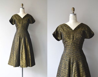 Brass Brocade dress | vintage 1950s dress | brocade 50s party dress