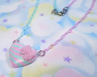 Fairy Kei necklace - pastel lavender purple and blue bow