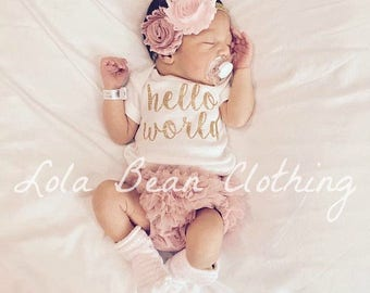 Hello World Take Home Outfit Baby Girl Coming Home Outfit Newborn Outfit Lola Bean Clothing
