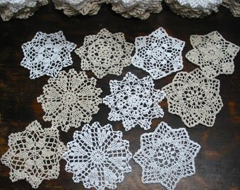 "lot of 10 Hand Crochet 5"" RD Doily for Cottage/Victorian/Shabby/Boho/French Style,Tea Party, Vintage Wedding, Free USA shipping"