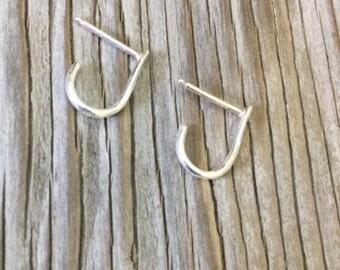 Suspender earrings sterling silver handmade suspender minimalist earrings simple stud for her gift under 25 girlfriend Valentines day gift