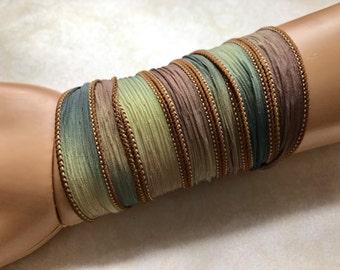 Brown Blue Green Silk Ribbon Wrap - 1.5x42 inches
