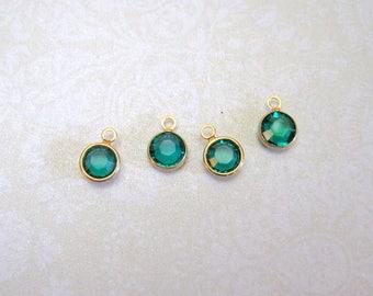 Swarovski Crystal Emerald Gold Metal Bezel Charms - Set of 8 - 10x7mm