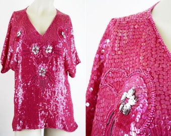 Hot Pink Lightweight Sequin V Neck Woman's Vintage Tunic Blouse