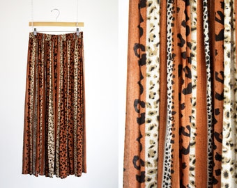 Reaction Vintage Rayon Made in India Gypsy Flowy Bohemian Cheetah Animal Print Elastic Tie Waist O/S Long Maxi Skirt