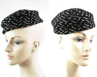 Vintage Black and Gold Woven Lightweight Woman's Retro Pillbox Glam Hat