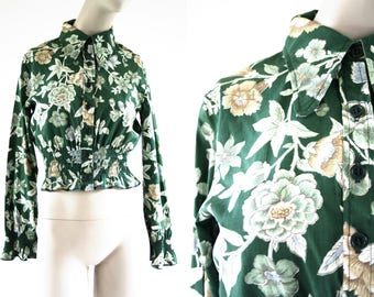 Bobbie Brooks Vintage Hunter Green Floral Print Button Up Collar Long Sleeve Elastic Waist Woman's Retro Blouse