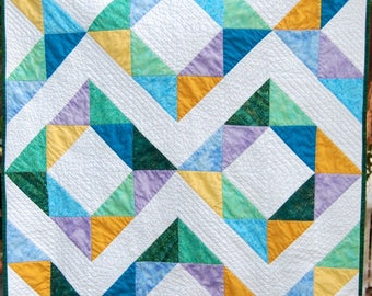 Handmade Modern Baby Quilt, Handmade Baby Boy Quilt, Handmade Baby Girl Quilt, Modern Handmade Baby Quilt