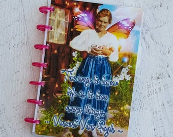 Planner Accessories - Mini Discbound Planner Cover - Vincent Van Gogh Quote - Butterfly Wings Planner - Planner Cover - Discbound Journal