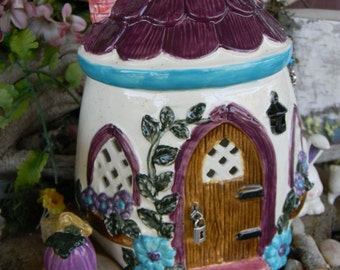 Ceramic Egg  Fairy  house - Ceramic Glazed  Gnomes  are always welcome to live here Spring Easter Cottage Lighted night light Easter