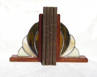 Stained Glass and Mahogany Bookends Glass and Wood Bookends Book Ends Shades of Brown Bookends Stained Glass Book Ends Mahogany Bookends