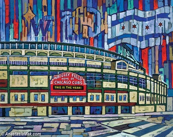Wrigley Field, Chicago Cubs, This is The Year, Fly The W, Cubs Win, World Series, 8x10 Art Print by Anastasia Mak
