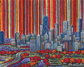 Chicago Autumn, Chicago Skyline, Red Chicago, 8x10 Art Print by Anastasia Mak