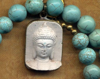 Buddha Pendant, Buddhist Necklace , Buddha Necklace, LAST ONE Tibet Magnesite  Necklace, Handmade Nepal Jewelry by AnnaArt72