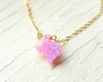 Tiny Texas Necklace, Pink Opal, Gold Filled Necklace