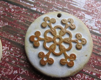LAST ONE ClassicBead, Handcrafted Pendant, Art Bead, Earthy Snowflake, Handcrafted Stoneware Pendant, by tracee, The Classic Bead