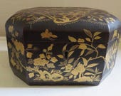 RESERVED Vintage/Antique Chinese Gilt Lacquer Chinoiserie Tea Caddy