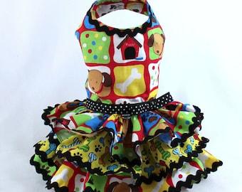 Dog Dress, Dog Harness Dress, Dog Fashion for Small Dog, Summer Dress for Dogs, Ruffle Dress, Handmade, Custom Dog Dress, Green, Rose