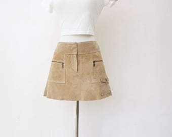 Suede Mini Skirt Vintage Suede Skirt Beige Suede Skirt Mod Suede Skirt Boho Suede Skirt Vintage Mini Skirt Boho Suede Mini 90s Skirt xs