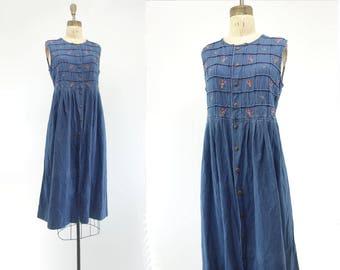 Vintage Denim Dress 80s Midi Dress Embroidered Denim 1980s Dress Boho Denim Dress Babydoll Dress Denim Midi Dress 80s Smock Dress s, m