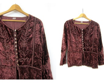 90s Romantic Velvet Blouse Brown Embroidered Top Shirt Boho Ethnic Hippie Top Festival Viscose Blouse Women's Free Size
