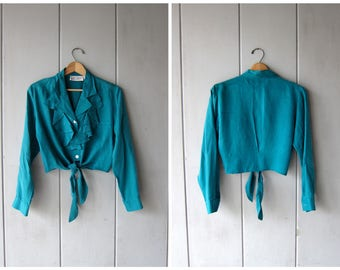 90s Cropped SILK Blouse Turquoise Green Tie Up Blouse Silk Crop Top Minimal Shirt Long Sleeve Modern Ruffled Silk Top Womens Small Medium