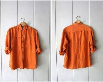 90s Silk Blouse Orange Terra Cotta Long Sleeve Shirt Vintage Minimal Button Up Tee Slouchy Loose Fit Modern Silk Top Womens Medium
