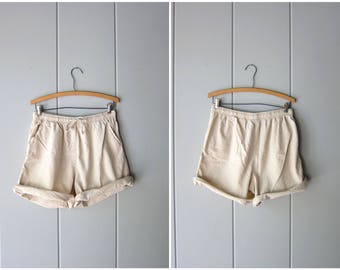 Drawstring Board Shorts 90s Elastic Waist Thin Cotton Shorts Minimal Beige Shorts MOM Shorts with Pockets Vintage Beach Shorts Women Large P