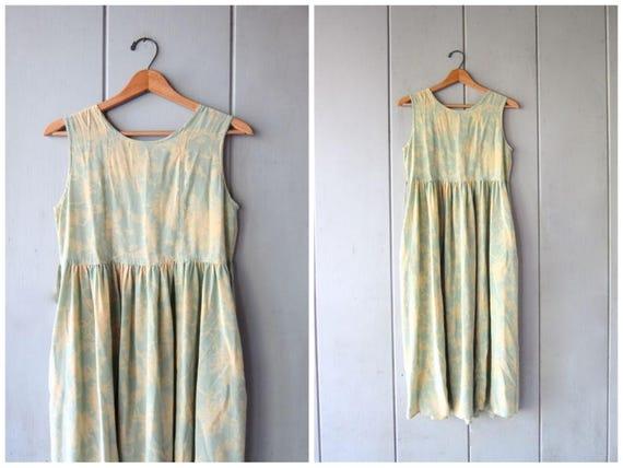 90s Natural SILK Dress Long Minimal Slip Dress Yellow & Green Pastel Floral Sun Dress Vintage Midi Dress Pockets Sleeveless Womens XS Small