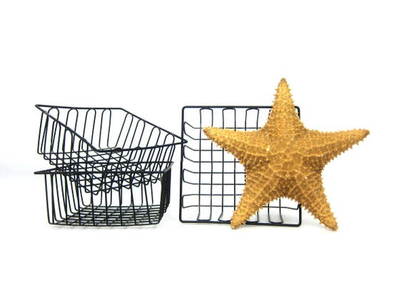 ONE Black Metal Basket Farmer's Market Fruit or Vegetabe Basket Industrial Metal Basket Small Organizers Crates 3 Available