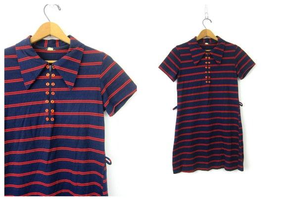 Striped 60s Dress Mod Mini Dress Blue & Red Mini Dress Short Sleeve Retro TShirt Collar Dress Vintage Hipster Minidress Womens Small Medium