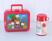 RESERVED FOR SHANNON - Rugrats Lunchbox and Thermos 1997 Nickelodeon Tommy Chuckie Phil Lil Angelica Aladdin Industries Red Plastic