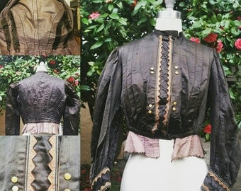 Reserved Victorian Edwardian blouse coat bodice witchy costume Gothic boudoir authentic satin goth steampunk