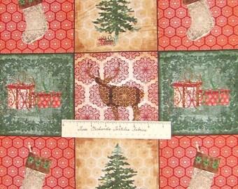 CHRISTMAS FABRIC Homespun Holidays Reindeer Tree Stocking - VIP 42 Block Panel
