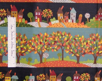 Fall Fabric House Autumn Leaves Red Green Blue Stripe - Andover Cotton Quilt Yd