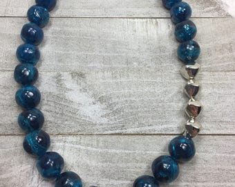Blue Beaded Statement Necklace - Marbled Blue Sapphire Bold Necklace - Silver And Blue Chunky Bib Necklace