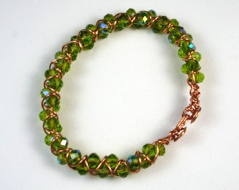 Diosa Verde-handmade, macrame' copper wire bracelet with Chinese, green, rondelle crystal beads