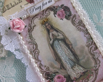 Virgin Mary Gift Tag Mxed Media Art Tag Catholic Gift Religious Card