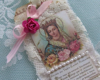 Virgin Mary Gift Tag Mixed Media Art Tag Catholic Gift Religious Card