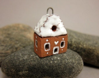 Sugar-coated Gingerbread Cottage...Terracotta Pendant