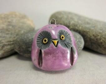 RESERVED for katchafu RESERVED Pink Owl...Raku Pendant