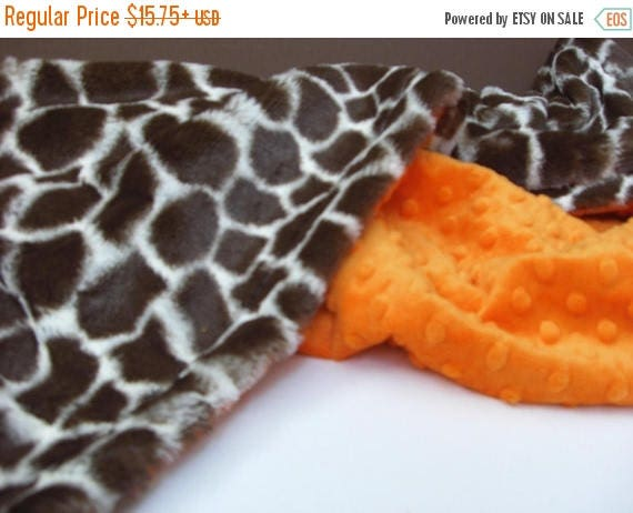 ON SALE Giraffe and Orange Minky Dot Baby BlanketCan Be Personalized
