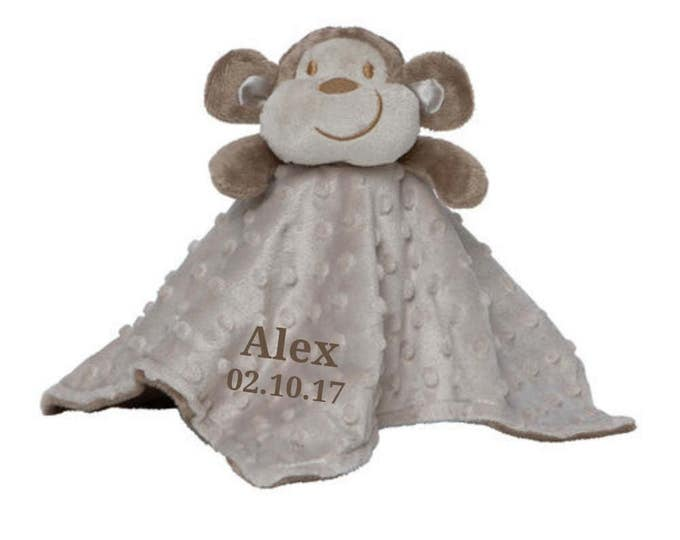 Personalized Monkey Minky Security Blanket, Personalized Security Blanket, Embroidered Baby Keepsake