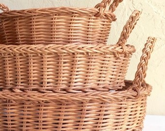 Vintage Wicker Basket Tray Trio Matching Natural Large Medium Small with Handles