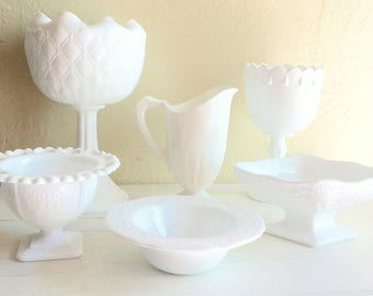 Milk Glass Compotes Pedestal Bowls White Vases 6 Six Collection