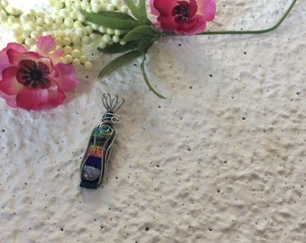 Wire Wrapped Dichroic Glass Necklace
