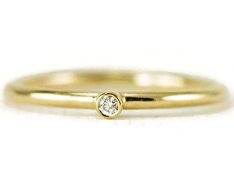 Gold Diamond Ring in 14k Yellow, White or Rose Gold - Gold Stacking Ring- 1.6mm Band