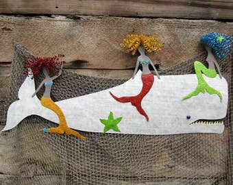 "Metal Wall Art Mermaid Sculpture Extra Large Marine - Mermaids and Whale  Recycled Metal Coastal  Beach House Art 24"" x 48"""