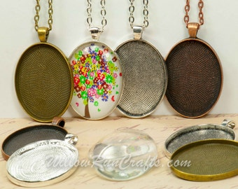 Diy jewelry kit etsy 50 diy pendant kits make 30 x 40 oval pendant trays with glass and chain mozeypictures Images